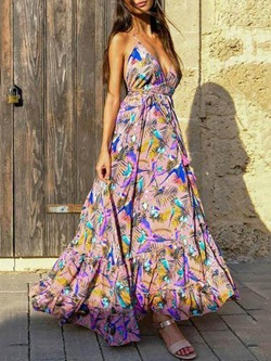 Print Floor-Length Sleeveless High Waist Women's Dress