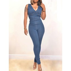 Simple Plain Full Length Skinny Women's Jumpsuit