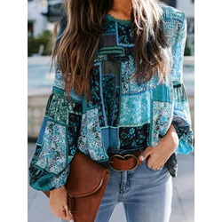 Round Neck Lantern Sleeve Patchwork Long Sleeve Women's Blouse