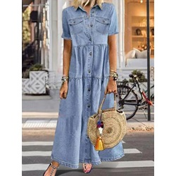 Pocket Short Sleeve Ankle-Length Plain Women's Dress
