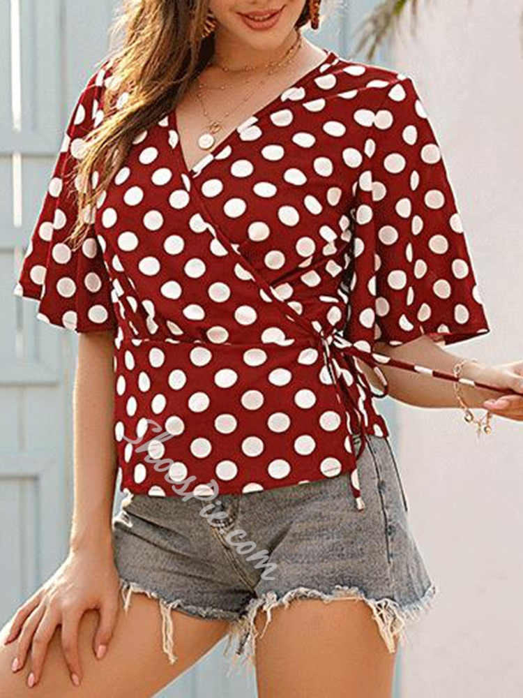 Polka Dots Flare Sleeve Patchwork Long Women's Blouse