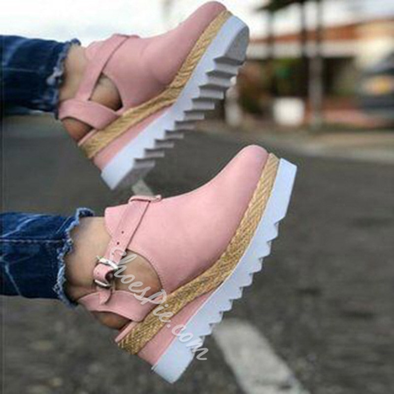 Shoespie Stylish Wedge Heel Ankle Strap Round Toe Plain Sandals