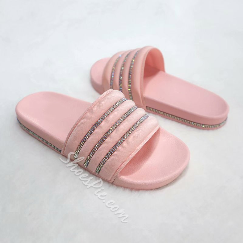 Shoespie Sexy Slip-On Flip Flop Rhinestone PVC Slippers