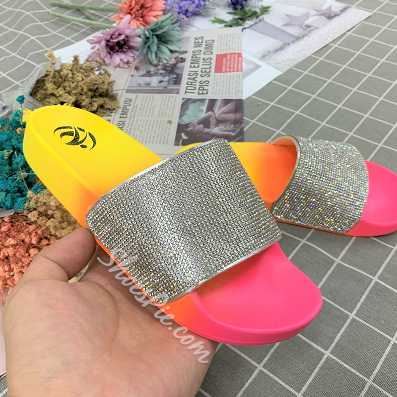 Shoespie Stylish Candy Color Flat With Slip-On Color Block Slippers