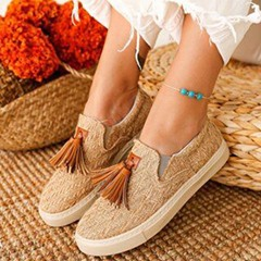 Shoespie Trendy Slip-On Fringe Flat With Patchwork Thin Shoes