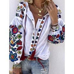 Plant Lantern Sleeve Embroidery Long Sleeve Women's Blouse