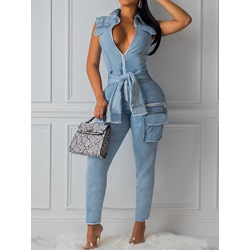 Lace-Up Simple Plain Mid Waist Women's Jumpsuit