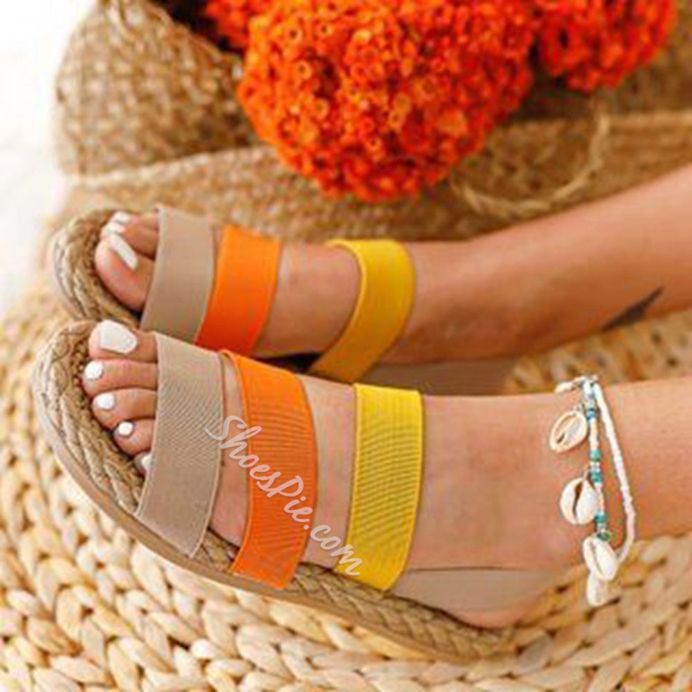 Shoespie Trendy Slip-On Flat With Round Toe Candy Color Sandals