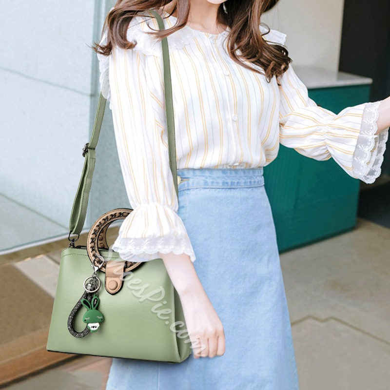 Shoespie Patchwork PU Rectangle Tote Bags