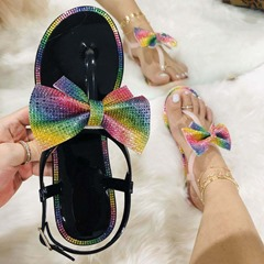 Shoespie Trendy Flat With Open Toe Buckle Color Block Sandals