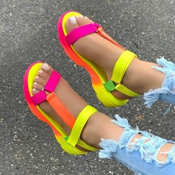 Shoespie Trendy Velcro Flat With Open Toe Candy Color Sandals
