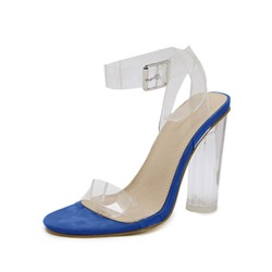 Shoespie Stylish Chunky Heel Pointed Toe Buckle Plain Sandals