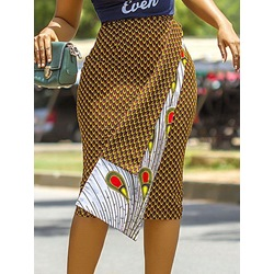 Geometric Mid-Calf Print High Waist Women's Skirt