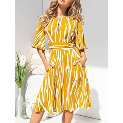 Mid-Calf Round Neck Half Sleeve Sweet Women's Dress