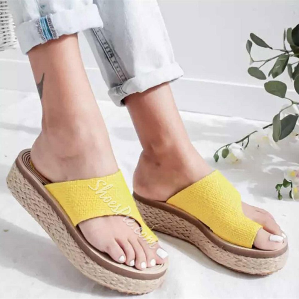 Shoespie Stylish Slip-On Woven Toe Ring PU Slippers