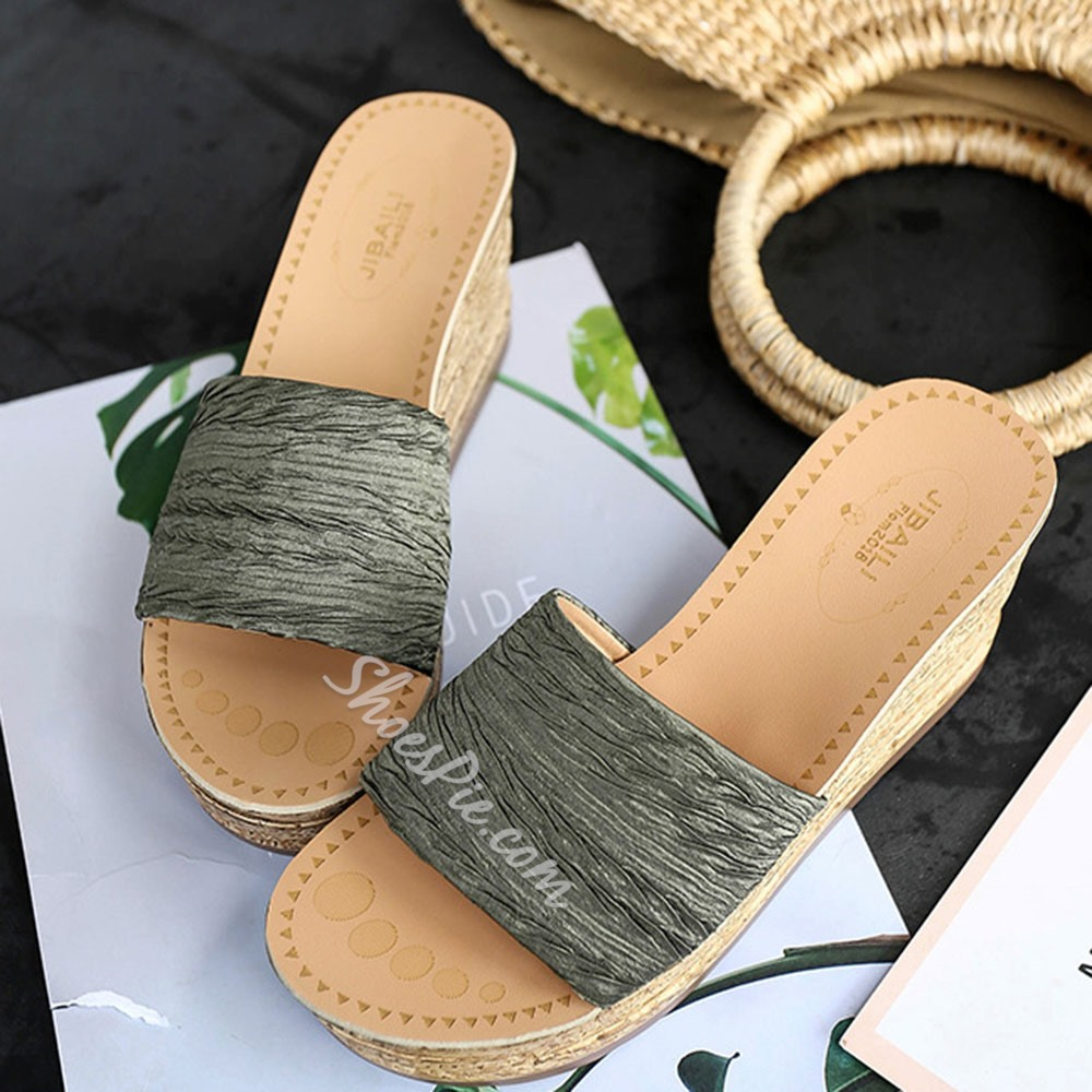 Shoespie Sexy Slip-On Platform Flip Flop Plain Slippers