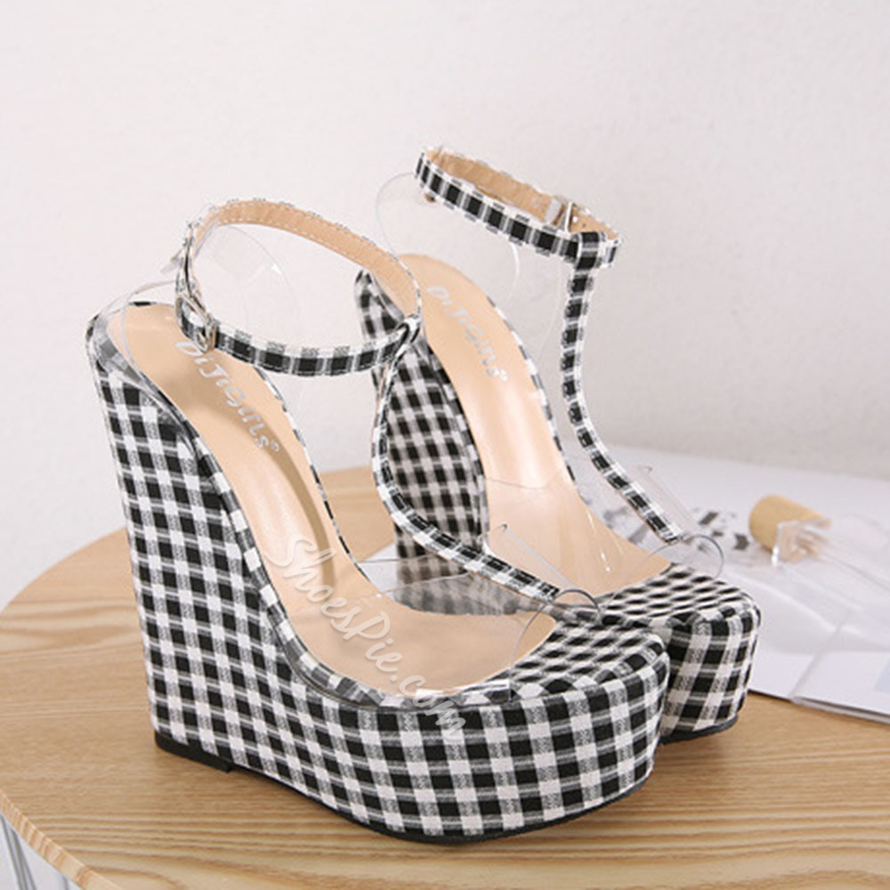 Shoespie Sexy Open Toe Wedge Heel Line-Style Buckle Buckle Sandals