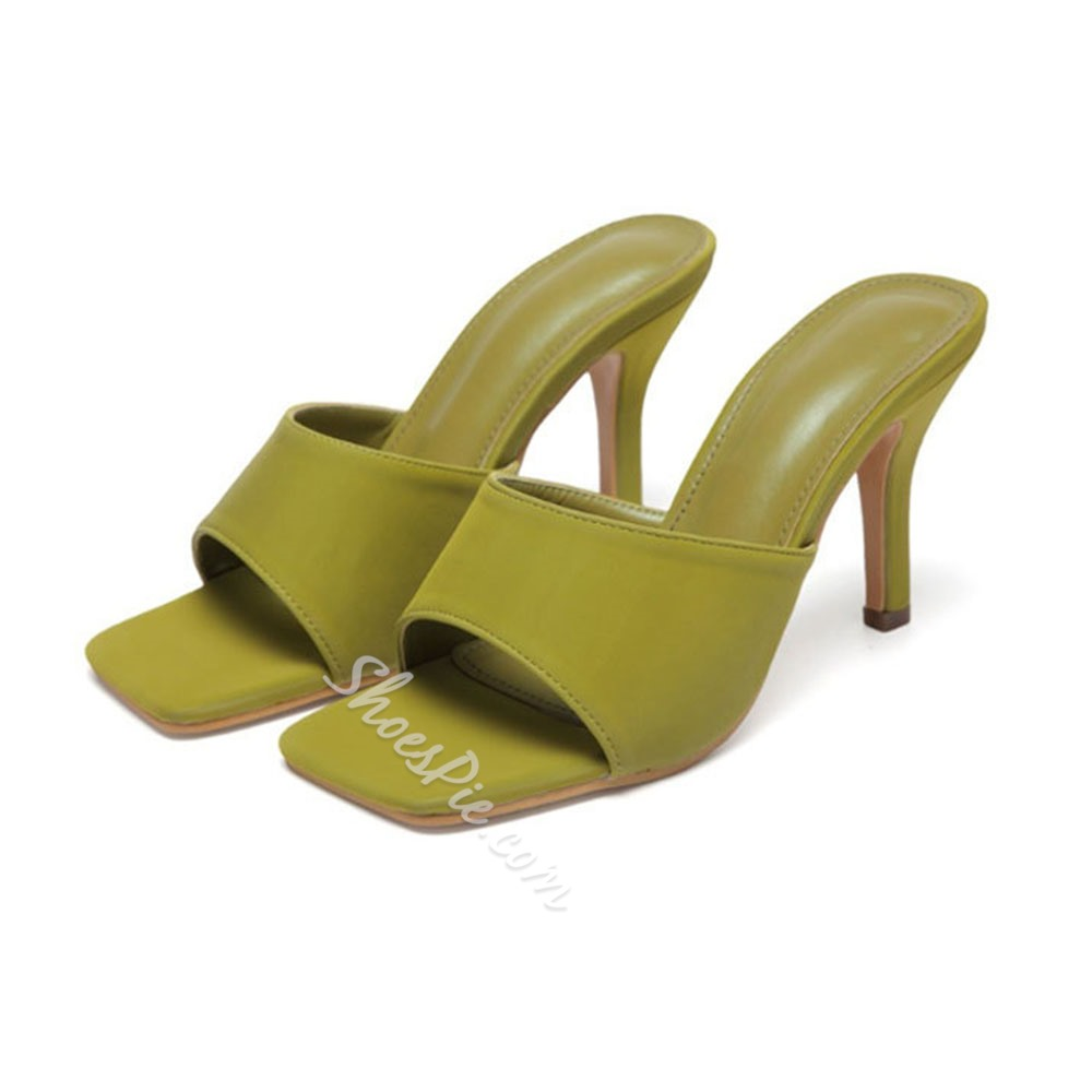 Shoespie Trendy Stiletto Heel Flip Flop Candy Color Plain Slippers