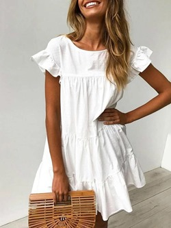Short Sleeve Pleated Round Neck Plain Women's Dress