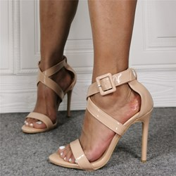 Shoespie Trendy Buckle Nude Open Toe Sandals