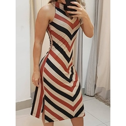 Mid-Calf Print Stand Collar Sexy Women's Dress