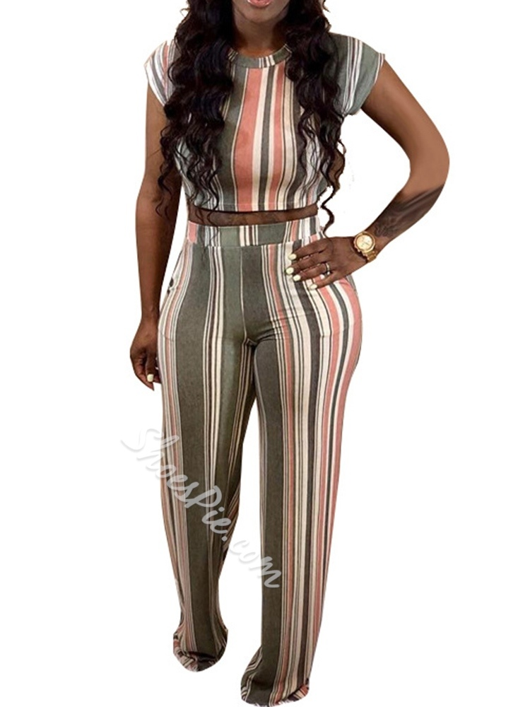 Stripe Pants Casual Round Neck Women's Two Piece Sets