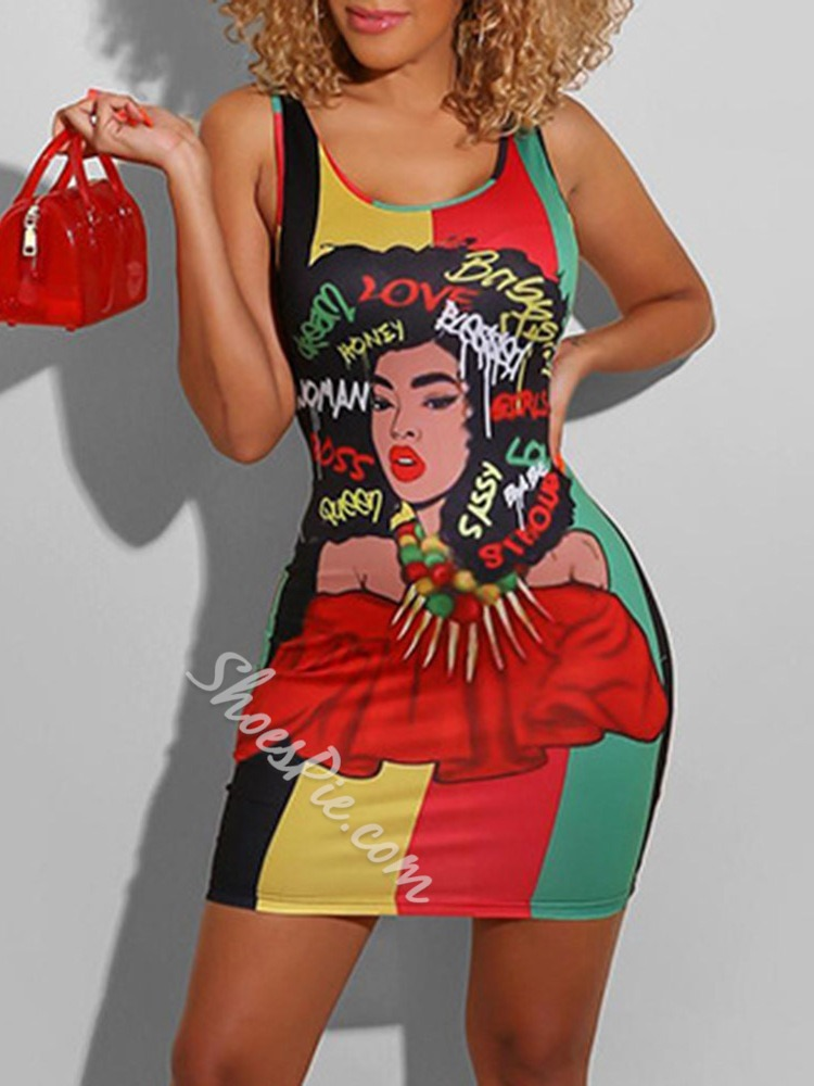 Print Scoop Sleeveless Bodycon Women's Dress