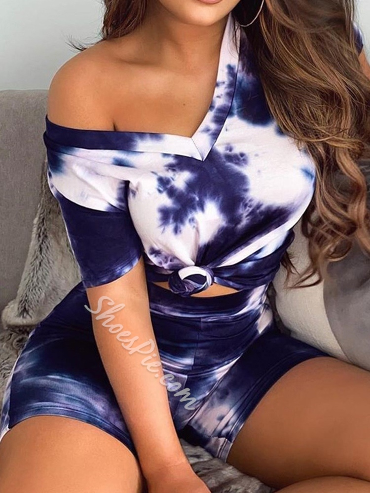Gradient Shorts Simple Pullover Women's Two Piece Sets