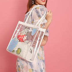 Shoespie Cartoon Thread PVC Rectangle Tote Bags