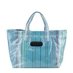 Shoespie Print Stripe PVC Rectangle Tote Bags