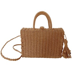 Shoespie Knitted Plain Grass Flap Tote Bags