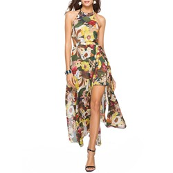 Sleeveless Ankle-Length Backless Floral Women's Dress