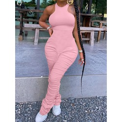 Simple Pleated Plain Slim Women's Jumpsuit