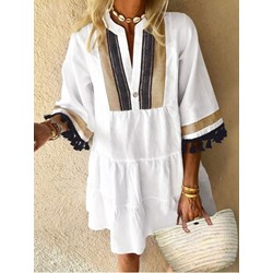 Print V-Neck Three-Quarter Sleeve Summer Women's Dress