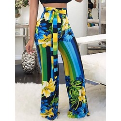 Floral Loose Print Full Length Women's Casual Pants