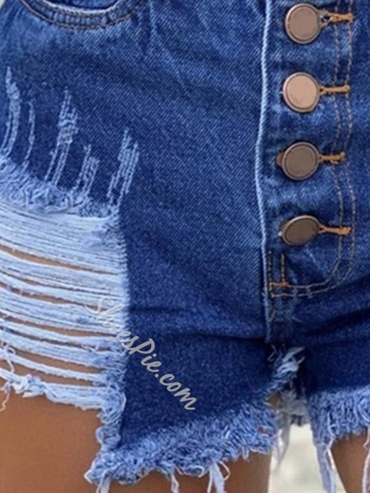 Button Plain Button Women's Shorts