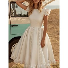 Lace Round Neck Cap Sleeve Expansion Women's Dress
