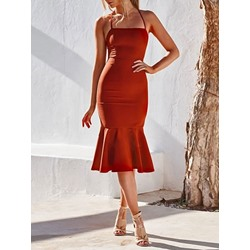 Mid-Calf Sleeveless Mid Waist Women's Dress