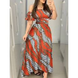 Short Sleeve Print Floor-Length Western Women's Dress