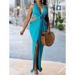 Floor-Length V-Neck Sleeveless Bodycon Women's Dress