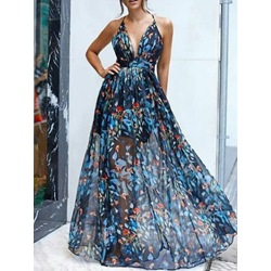 Print Floor-Length Sleeveless Expansion Women's Dress