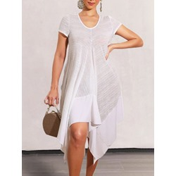 Asymmetric Mid-Calf Short Sleeve Summer Women's Dress