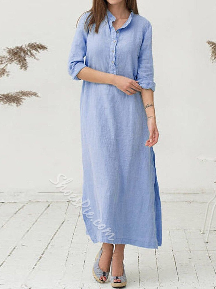 Stand Collar Ankle-Length Long Sleeve Summer Women's Dress