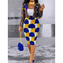 Print Western Floral Bodycon Women's Two Piece Sets