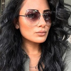 Fashion Rimless Poly Carbonate Sunglasses