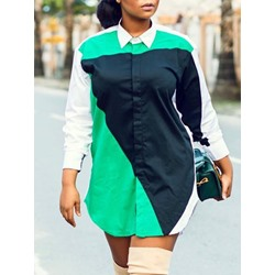 Color Block Lapel Button Nine Points Sleeve Women's Blouse