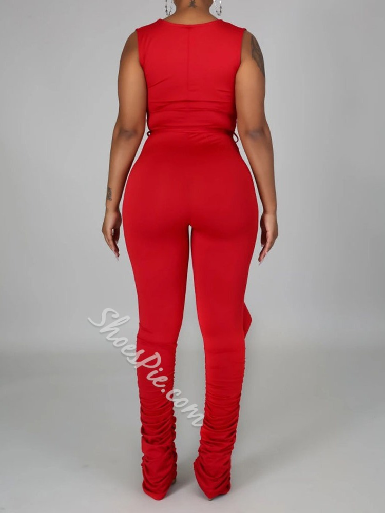 Full Length Sexy Plain Bellbottoms Women's Jumpsuit