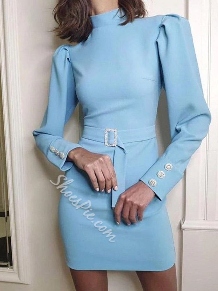 Long Sleeve Button Above Knee Pullover Women's Dress