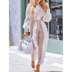 Sexy Lace Ankle Length High Waist Women's Jumpsuit