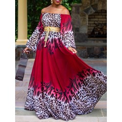 Print Floor-Length Off Shoulder Leopard Women's Dress